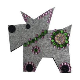 Brož pejsek stříbrný / zeleno růžový